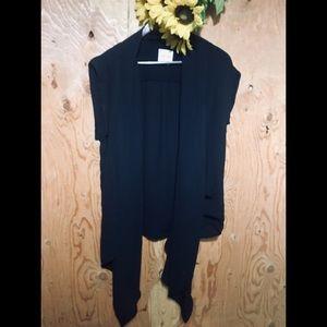 UO SILENCE + NOISE Black Open Kimono Shawl XS NWOT